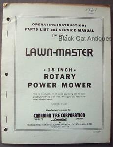 orig omc lawn master 18 rotary power mower owners manual parts list rh ebay co uk OMC Shift Control Parts Johnson Outboard Parts