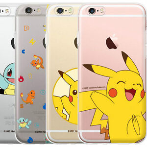 new arrival 51667 266be Details about Genuine Pokemon Clear Jelly Case iPhone 6/6S Case iPhone 6/6S  Plus Case 6 Types