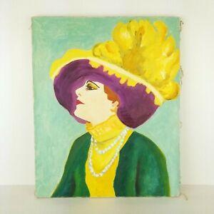 Vintage-Portrait-Painting-Hat-Fauvist-Woman-Impressionist-Mid-Century-16x20