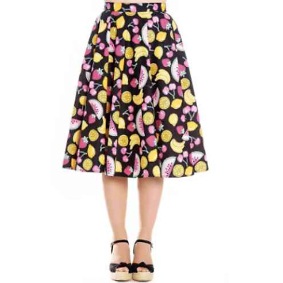 Hell Bunny Tutti Frutti 50s Skirt Fruit Rockabilly Pin Up Retro Vintage Swing Pl