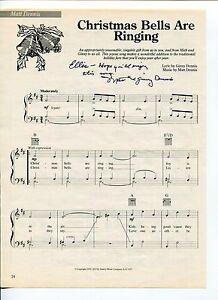 Ginny & Matt Dennis Christmas Bells Are Ringing Signed Autograph Sheet Music   eBay