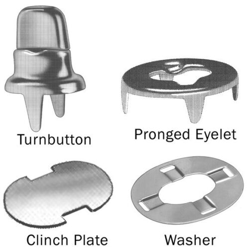 Clinch Plate Stud Single Two Prong Clinch Eyelet and Washers Fasteners 200 Pcs