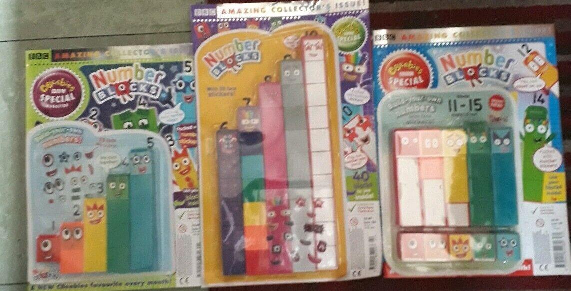 NUMBERBLOCKS CBEEBIES MAG 121 - 1-5 & 122 - 6-10- 130 11-15 Spielzeug NUMBER BLOCK NEW
