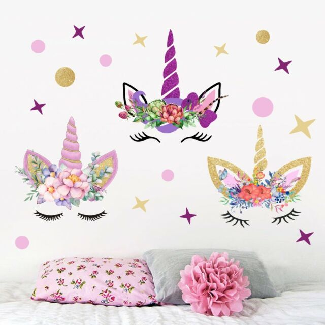 UK Unicorn Wall Sticker Kids Bedroom PVC Removable Home Decor Decal ...