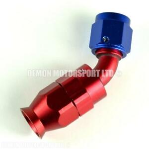 AN10-45-Degree-Braided-Hose-Fitting-Red-amp-Blue-PTFE-Teflon-Lined-Hose-10-10AN