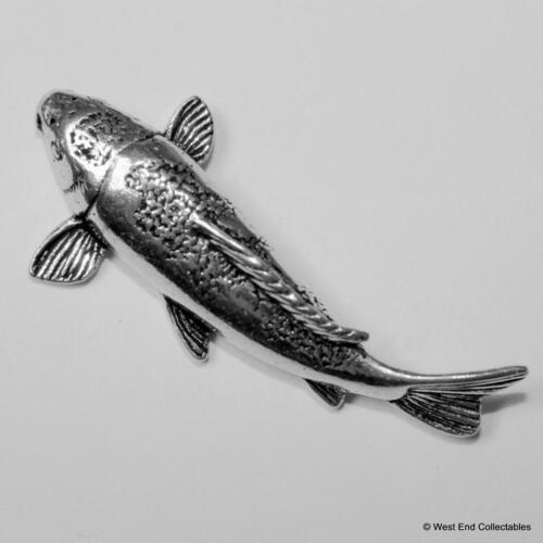 Koi Carp Goldfish Pewter Brooch Pin-British Artisan Made-Gold Fish Pond Aquarium