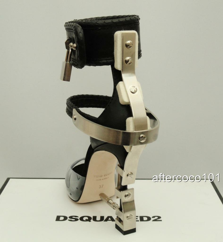 DSQUARED 2 Negro Virginia Candado Y Correa en el tobillo Sandalias Dsquared UK4 EU37 Nuevo