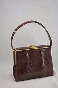 6c4b60d7db1d4 Image is loading VINTAGE-1970s-1980s-JANE-SHILTON-brown-snakeskin-handbag-