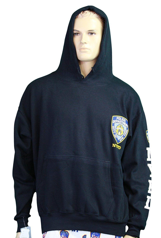 NYPD Hoodie Screen Print Heart Sweatshirt Navy PDNY New York Navy Mens Shirt NWT