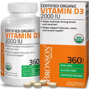 Vitamin D3 2,000 IU High Potency USDA Certified Organic Vitamin D, 360 Tablets
