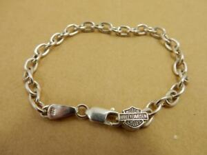 7244d039f23 Image is loading Ladies-Sterling-Silver-HARLEY-DAVIDSON-Oval-Link-Bracelet-