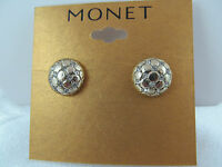 Monet Gold & Crystal Textured Button Design Earrings, Signed