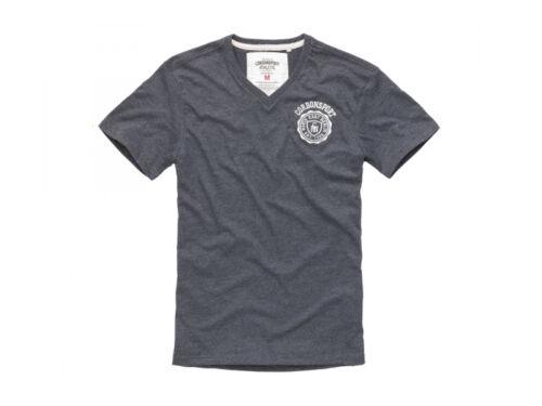Cordon sport Berlin t-shirt Hommes Jens v-Neck manches courtes gris bleu haut Logo