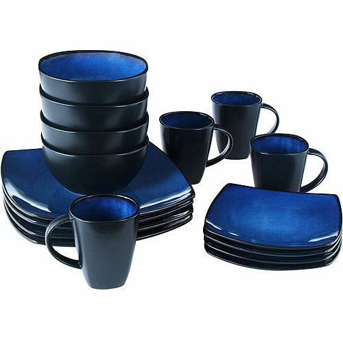 beautiful black and blue dinnerware set 16 piece round square plates bowls mugs 7435646072075 ebay. Black Bedroom Furniture Sets. Home Design Ideas