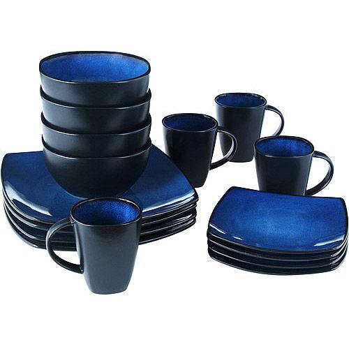 Beautiful Black And Blue Dinnerware Set 16 Piece Round Square
