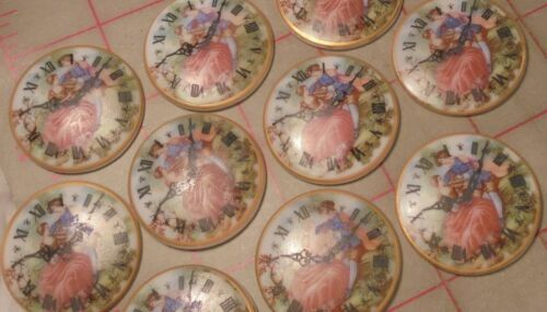 2 Vintage Cabochon Embellishments Western Germany 35mm /'A Time for Romance/'