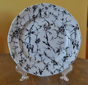 "Antique Staffordshire Flow Mulberry Ironstone Plate Wedgwood ""Marble"" Pattern"