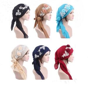 Ladies-Rose-Flower-Pattern-Long-Tail-Head-Scarf-Wrap-Turban-Bandana-Chemo-Cap-BS