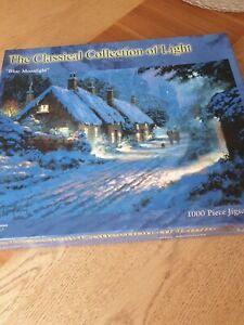 Le-classique-collection-de-Lumiere-034-bleu-clair-de-lune-034-1000-Piece-Jigsaw-Puzzle