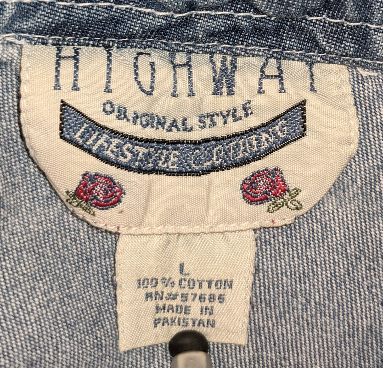 Vntg 80's-90's Highway denim apron pinafore halte… - image 3