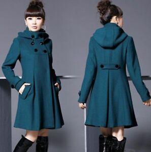 Women-039-s-jackets-Long-double-breasted-wool-trench-coat-jacket-windbreaker-hooded