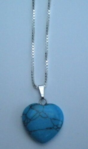 Nuevo curación de piedras preciosas de color Turquesa Cristal Corazón Colgante Collar de plata esterlina