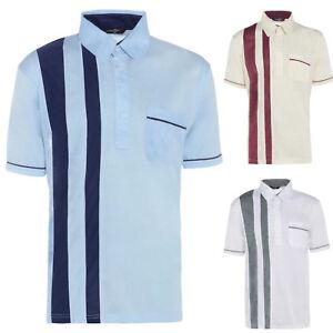 Para-Hombres-Camisa-Manga-Corta-de-verano-rayado-informal-Camiseta-con-cuello-vacaciones-M-5XL