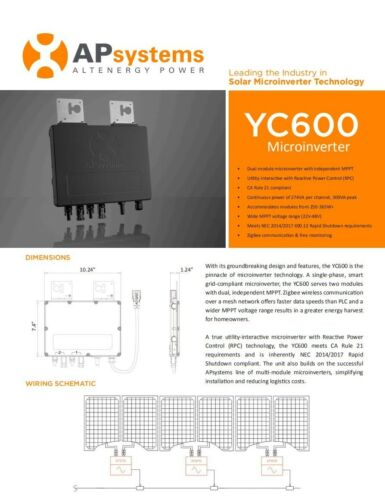 APsystems YC600-Y Single Phase Microinverter