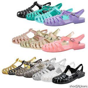 0f3e594ebff4 Details about New Women Summer Retro Glitter Buckle Slingback Jelly Rubber  Sandals Heel Shoes