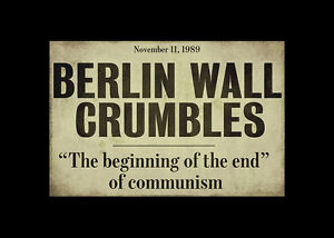 Framed-Print-Berlin-Wall-Crumbles-Newspaper-Headline-Picture-Poster-Art