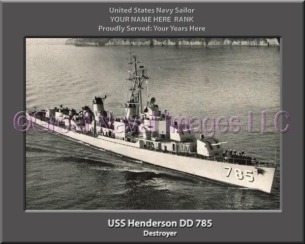 USS Henderson DD 785 Personalized Canvas Ship Photo 2 Print Navy Veteran Gift