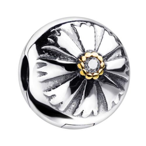 Bead Stopper mit Zirkonia vergoldet MATERIA Charms Clip Blume 925 Silber Box