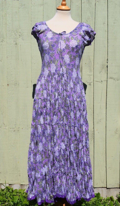 Nila Rubia Amber Long Dress Purple Print Floral Flared Crinkle Cotton Sleeveless