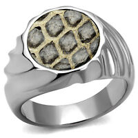Flat Leather Round Top Spiral Band Silver Stainless Steel Mens Ring