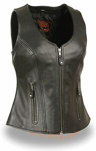Ladies *BROWN* Low Neck Leather Side Lace Vest /& Zipper Front Closure Gun Pocket