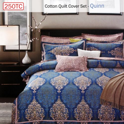 3 Pce 250TC Cotton Reversible Quilt Doona Duvet Cover Set Quinn QUEEN KING