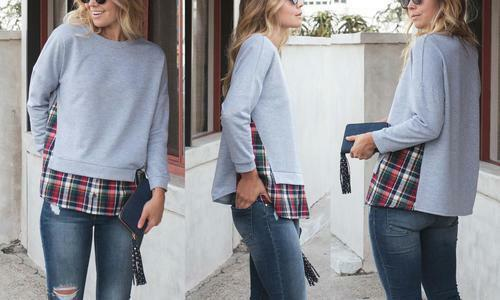 NEW Reflection Women/'s Layered Plaid Sweater Gray Size: Large 8-10