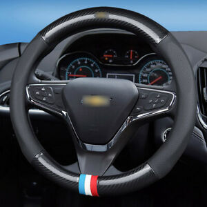 15-inch-black-carbon-fiber-PVC-leather-steering-wheel-Glove-cover-for-Chevrolet