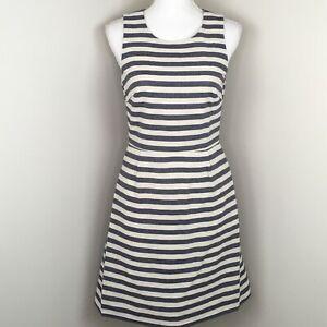 J. Crew Factory Women's Shift Dress Size 2 Blue Striped Cotton Nautical
