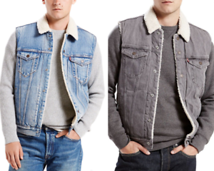 Levis-Vest-Men-039-s-Button-Up-Sherpa-Lined-Multi-Pocket-Denim-Blue-Grey