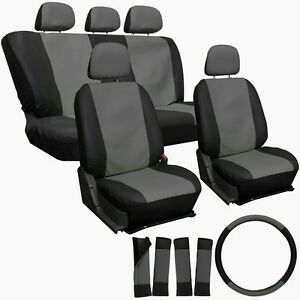 Universal Black and Grey Front And Back Full Set Seat Covers - 17 Piece Set