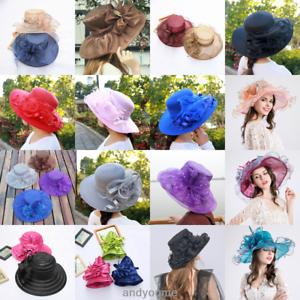 dbf619e4118 Women Lady Church Kentucky Derby Hat Sheer Wide Brim Dress Wedding ...