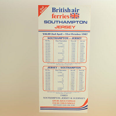 Faithful British Air Ferries And Guernsey Airlines Timetable - April To October 1987 Long Performance Life