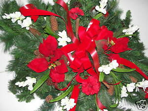 Christmas-Winter-Pine-Cemetery-Decoration-Grave-Blanket-Pillow-Red-Ribbon-amp-Bows