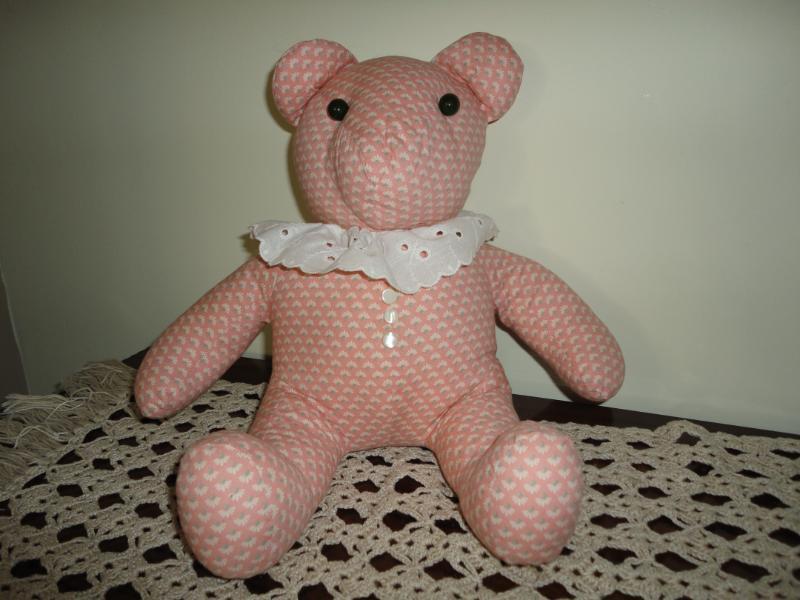 OOAK Handmade Canada BEAR Peach Cotton Fabric