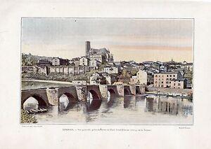 TIRAGE-COULEUR-1903-LIMOGES-VUE-GENERALE-EN-AMONT-PONT-SAINT-ETIENNE