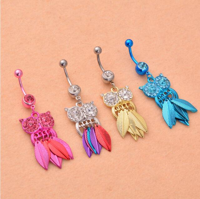 Crystal Rhinestone Owl Dangle Body Piercing Jewelry Belly Navel Bar Ring Button