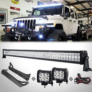 52inch2x 4 18w straight led light barmount bracket fit for jeep image is loading 52 034 inch 2x 4 034 18w straight aloadofball Images