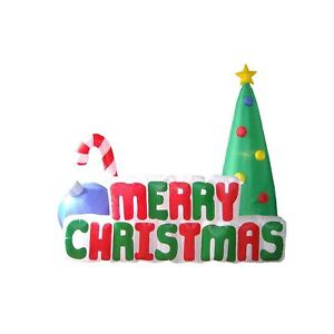 Christmas Inflatable 180cm Long Merry Christmas Sign LED Lit Outdoor Display