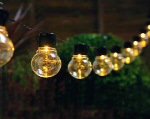 Image Is Loading 10 LED Bulb Solar String Lights Garden Patio